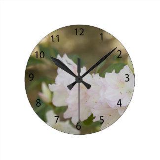 White Azaleas Round Clocks