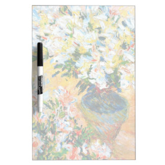 White Azaleas in a Pot, 1885 Claude Monet Dry Erase White Board