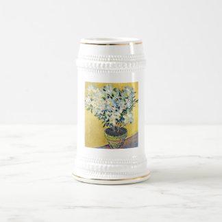 White Azaleas in a Pot -  Claude Monet Beer Stein