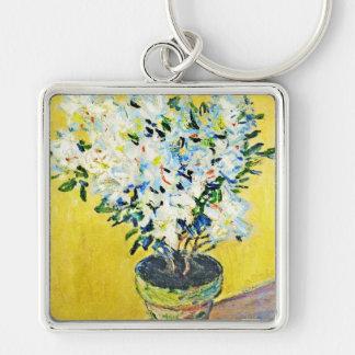 White Azaleas in a Pot Claude Monet Keychain