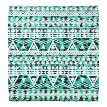 Aztec Themed White Aztec on Black and Teal Cheetah Bandana