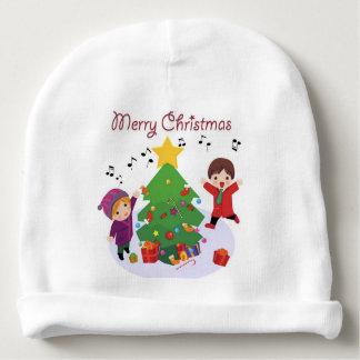 WHITE BABY BEANIE : MERRY CHRISTMAS