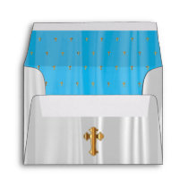 White & Baby Blue Satin with Gold Church Crosses Envelope