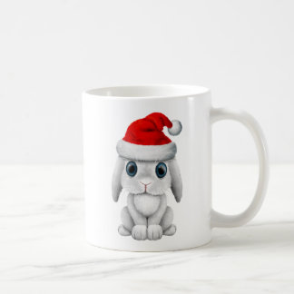 White Baby Bunny Wearing a Santa Hat Coffee Mug