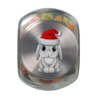 White Baby Bunny Wearing a Santa Hat Glass Jars