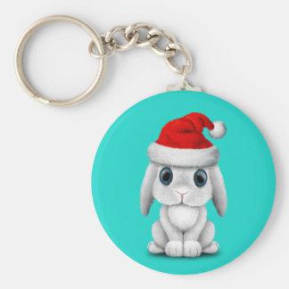 White Baby Bunny Wearing a Santa Hat Keychain