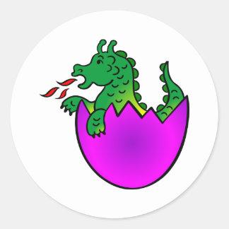 White Baby Dragon Egg Classic Round Sticker