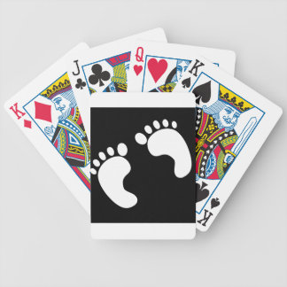 White Baby Footprints Bicycle Playing Cards