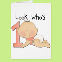 White Baby Girl 1st Birthday Tshirts and Gifts Card