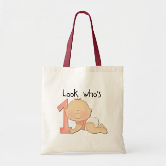 White Baby Girl 1st Birthday Tshirts and Gifts Tote Bag