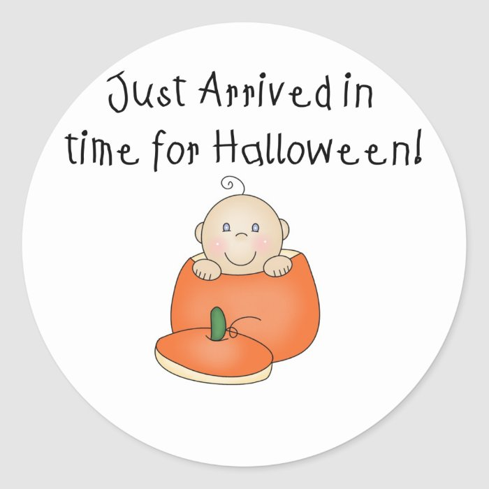 White Baby Halloween Just Arrived Classic Round Sticker
