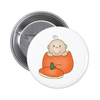 White Baby in Pumpkin Pinback Button