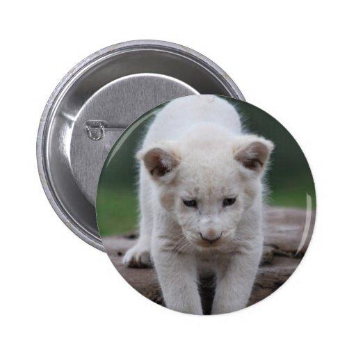 White baby lion cub 2 inch round button