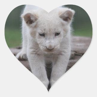 White baby lion cub heart sticker