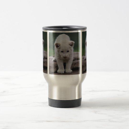 White baby lion cub travel mug