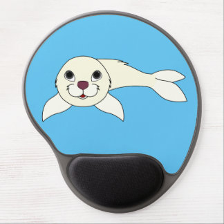 White Baby Seal Gel Mouse Pad