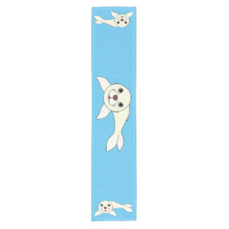 White Baby Seal Short Table Runner