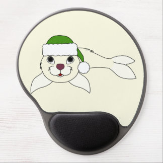 White Baby Seal with Christmas Green Santa Hat Gel Mouse Pad
