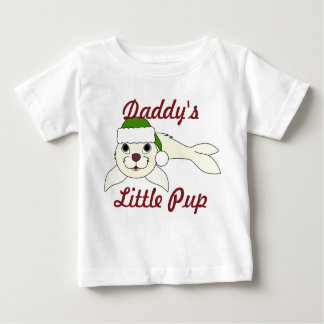 White Baby Seal with Christmas Green Santa Hat Infant T-shirt