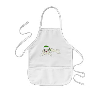 White Baby Seal with Christmas Green Santa Hat Kids' Apron