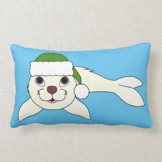 White Baby Seal with Christmas Green Santa Hat Lumbar Pillow