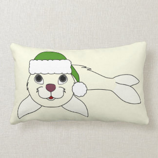 White Baby Seal with Christmas Green Santa Hat Lumbar Pillow
