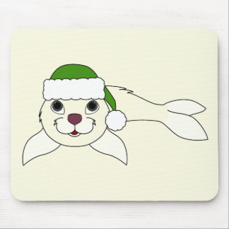 White Baby Seal with Christmas Green Santa Hat Mouse Pad