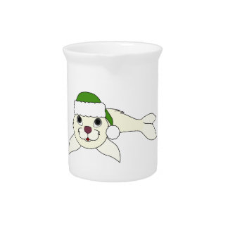 White Baby Seal with Christmas Green Santa Hat Pitcher