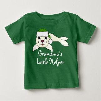 White Baby Seal with Christmas Green Santa Hat Tee Shirt