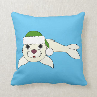 White Baby Seal with Christmas Green Santa Hat Throw Pillow