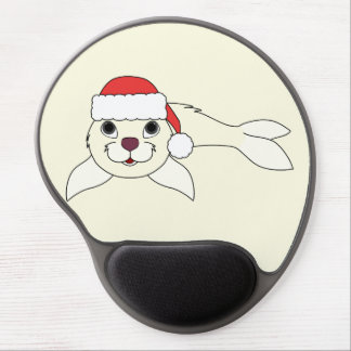 White Baby Seal with Christmas Red Santa Hat Gel Mouse Pad