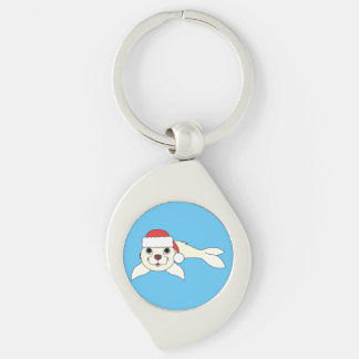 White Baby Seal with Christmas Red Santa Hat Keychain