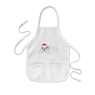 White Baby Seal with Christmas Red Santa Hat Kids' Apron
