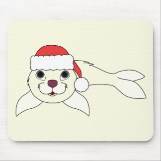 White Baby Seal with Christmas Red Santa Hat Mouse Pad