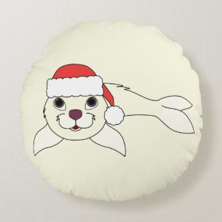 White Baby Seal with Christmas Red Santa Hat Round Pillow