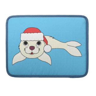 White Baby Seal with Christmas Red Santa Hat Sleeve For MacBook Pro