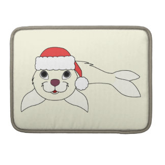 White Baby Seal with Christmas Red Santa Hat Sleeve For MacBooks