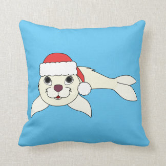 White Baby Seal with Christmas Red Santa Hat Throw Pillow