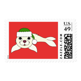 White Baby Seal with Green Santa Hat Postage