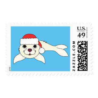 White Baby Seal with Red Santa Hat Postage