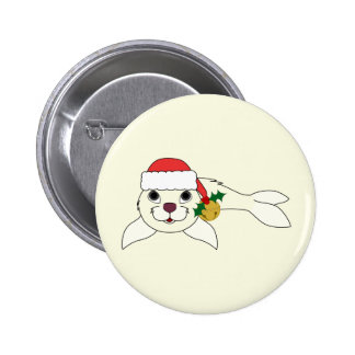 White Baby Seal with Santa Hat & Gold Bell 2 Inch Round Button