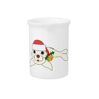 White Baby Seal with Santa Hat & Gold Bell Beverage Pitcher