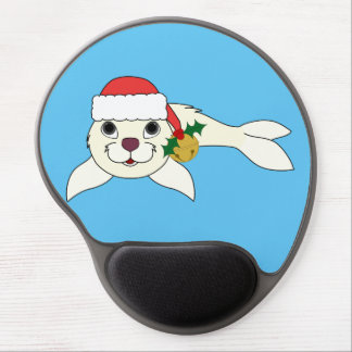 White Baby Seal with Santa Hat & Gold Bell Gel Mouse Pad