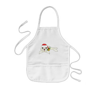 White Baby Seal with Santa Hat & Gold Bell Kids' Apron