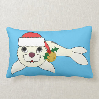 White Baby Seal with Santa Hat & Gold Bell Lumbar Pillow