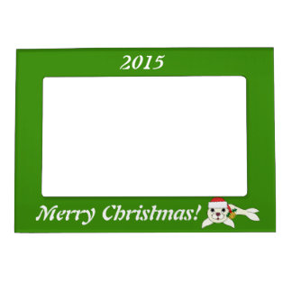 White Baby Seal with Santa Hat & Gold Bell Magnetic Frame