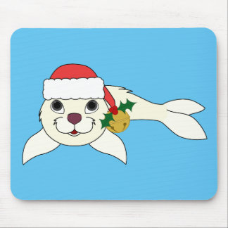 White Baby Seal with Santa Hat & Gold Bell Mouse Pad