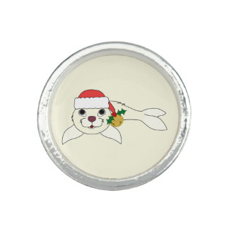 White Baby Seal with Santa Hat & Gold Bell Ring