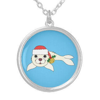 White Baby Seal with Santa Hat & Gold Bell Round Pendant Necklace