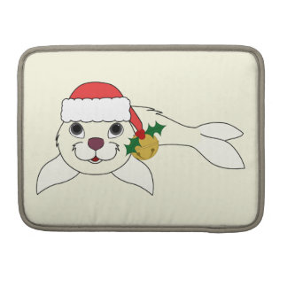 White Baby Seal with Santa Hat & Gold Bell Sleeve For MacBooks